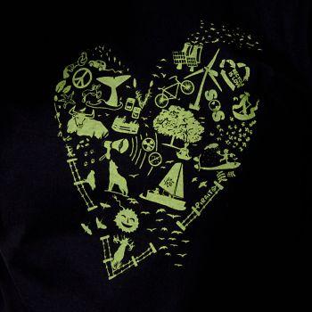 Camiseta Corazón verde-con razón verde -- ... que te quiero verde.