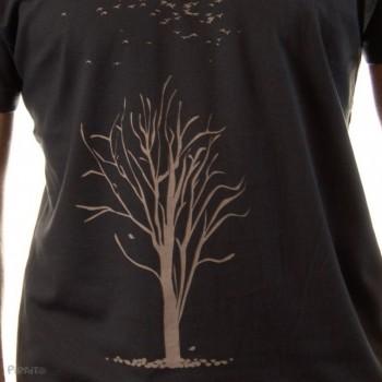 Camiseta El chopo en invierno -- La caída de la última hoja-detalle