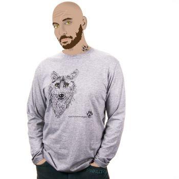 Long sleeve T-shirt Iberian wolf -- LoboVivoLoboProtegido