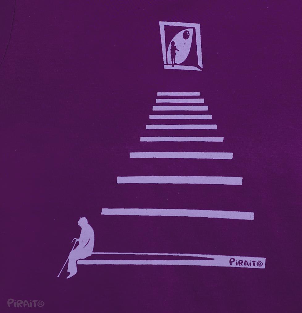 La vida en la escalera camiseta entallada purpura detalle