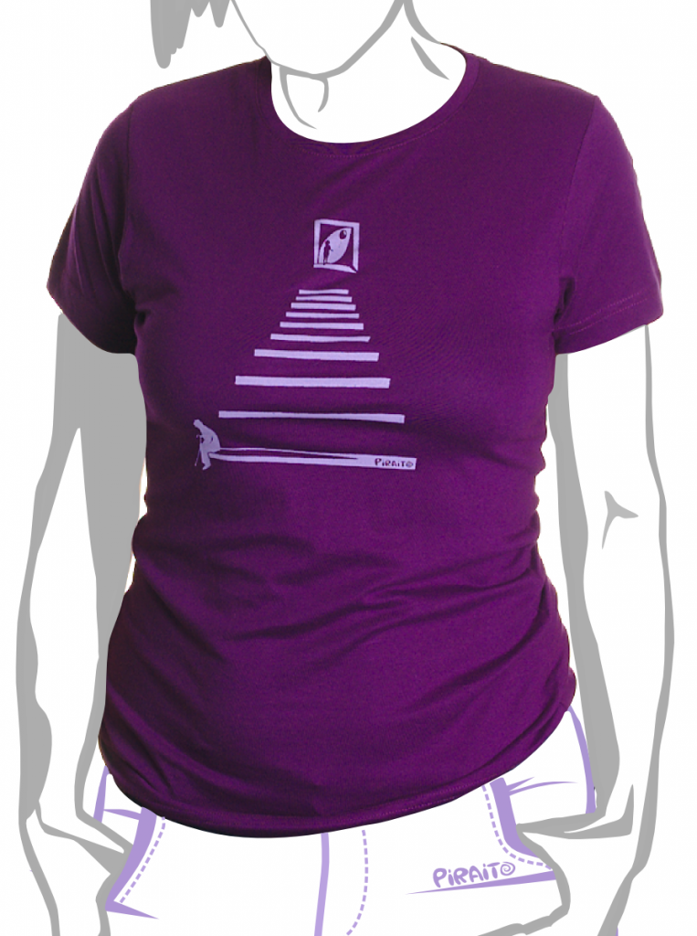La vida en la escalera camiseta entallada purpura Piraito